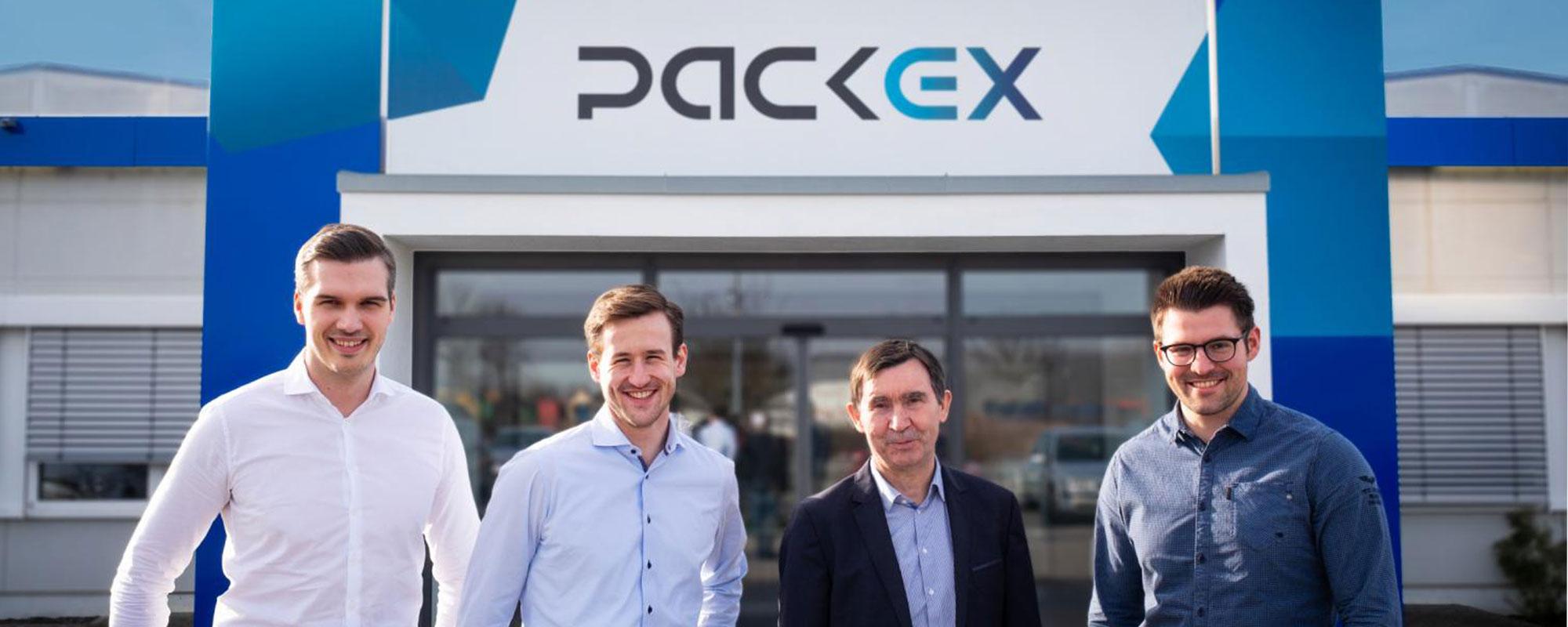 Zu sehen ist das Management von PackEx (v.l. Marco Dembowski, Julian Erhard, Nikolaus Reichenbach, Arne Rogosch)