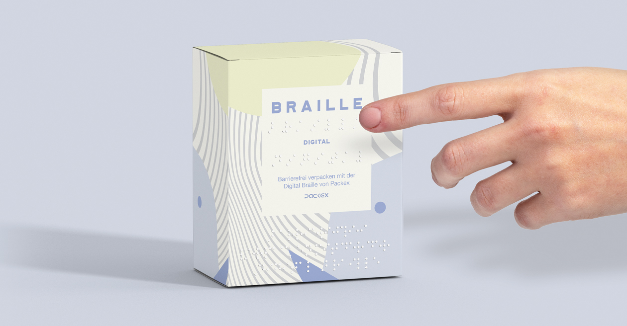 Digital Braille Blindenschrift für Faltschachteln